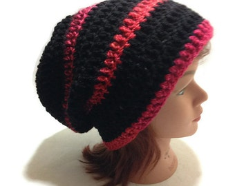 Black and Red Hat, Black Slouchy Hat, Striped Slouchy Hat, Striped Beanie, Red Ombre Hat, Crochet Slouchy Hat, Slouchy Winter Hat