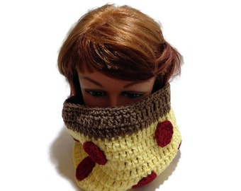 Pizza Crochet Cowl Novelty Circle Scarf Pepperoni Pizza Neck Warmer Crochet Winter Cowl Pizza Cosplay Novelty Infinity Scarf