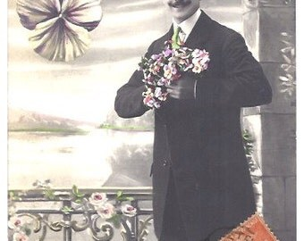 1910 PARIS hand painted Post card - MAN with FLOWERS Congratulation Card