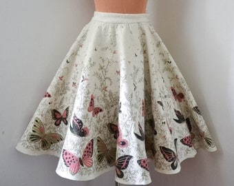 1950s Cream border print butterfly felt circle skirt / 50s novelty print pink gold full winter skirt - XS