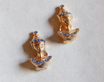 1950s Novelty gold & blue rhinestone dancer earrings / Balinese lady face dancer clips
