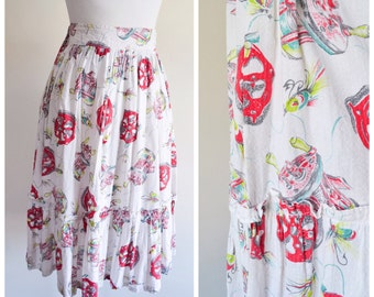 1950s Novelty print red fishing reel cotton full skirt / 50s printed - Small