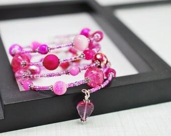 Pink Wrap Bracelet, Pink Memory Wire Bracelet, Beaded Bracelet, Pink Bracelet, Boho Bracelet, Beaded Wrap Bracelet, Seed Bead Bracelet