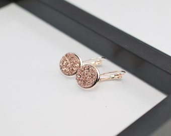 Rose Gold Druzy Earrings, Druzy Earrings, Rose Gold Earrings, Bridal Druzy, Bridal Earrings, Faux Druzy Earrings, Faux Druzy, Gift for Her