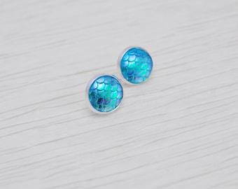 Mermaid Scale Earrings, Scale Earrings, Bright Earrings, Blue Earrings, Aqua Earrings, Stud Earrings, Post Earrings, Dragon Scale, Studs