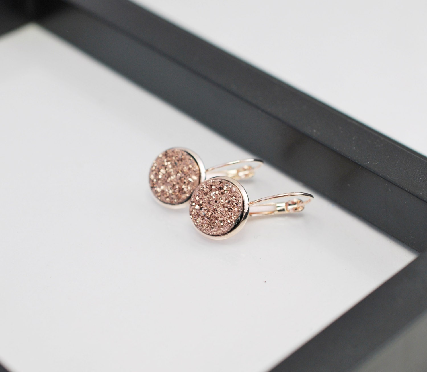 Rose Gold Druzy Earrings Druzy Earrings Rose Gold Earrings
