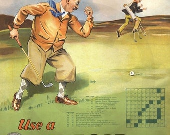 Golf, Golf Course, Scottish Golf, Golf Balls, Penfold and Bromford, Puzzle, 1930s, Advertising, Print