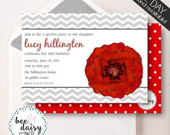 Red Poppy Invitation - Poppy Party Invitation - Poppy Birthday Invitation - Poppy Baby Shower - Printable Flower Invite BeeAndDaisy