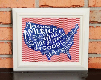 Wall Art - America the Beautiful - Red White and Blue - US Flag - Patriotic Art - Watercolors - Typography - Red Chevron
