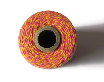 Hot Pink & Yellow Bakers Twine - Raspberry Lemonade Divine Twine - Invitation Wrapping String - Crafts - Scrapbooking - 200 Yard Roll Spool