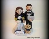 Wedding Cake Topper, Custom Wedding Topper, Bride and Groom, Pet, Personalized, Sports Theme, Polymer Clay, Keepsake