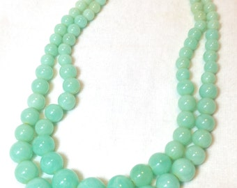 Vintage Pale Turquoise Necklace, Two Strand, Plastic, 1960s