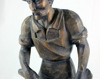 Folk Art Carved Wooden Woodsman
