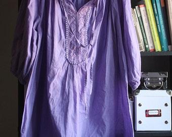 Violet dress, tunic, lace, soft cotton