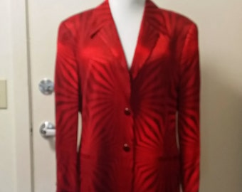 Vintage 80s 90s Escada OP Art Dazzler Scarlet Satin Long Jacket Magaretha Ley 42 COUTURE