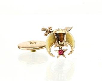 Antique Shriner Lapel Pin - Masonic 10K Gold & Ruby
