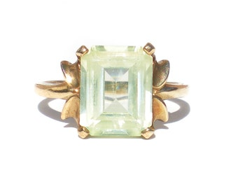 Green Spinel Ring on 10kt Gold Band 60s Art Deco Revival Size 6.5 - Vintage Jewelry Solitaire Gemstone Emerald Cut