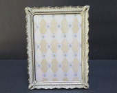 French Provincial Brass and Antiqued White 5 x 7 Picture frame