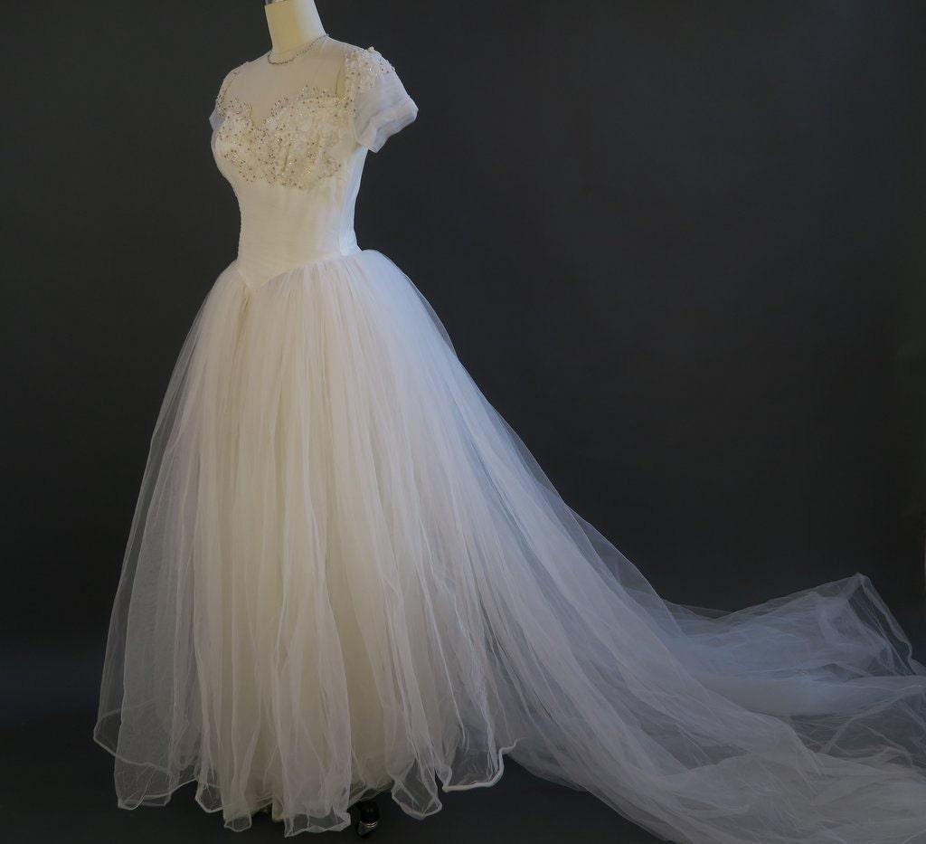 1950s fairy tale wedding dress vintage princess bridal for Fairy tale wedding dresses