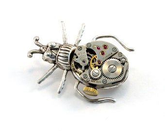 Steampunk Beetle Pin, Steampunk Brooch