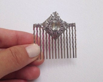 Great Gatsby Vintage Silver Crystal Rhinestone Bridal Wedding Headpiece, Hair Comb, Bridal Accessories, One of a Kind