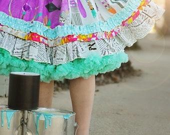 Girl's Little Artist skirt painting party