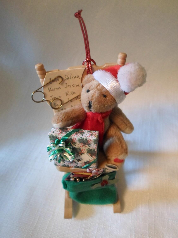 DOLLHOUSE CHRISTMAS Santa Teddy Bear Rocking Chair