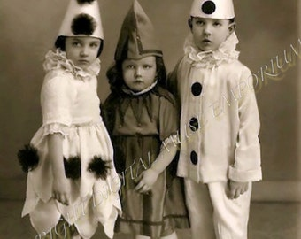 Instant Download Vintage Photograph - Clowning Around Kids