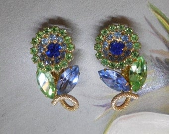 Signed WEISS Blue & Green Spring Flower Rhinestone Clip On Earrings