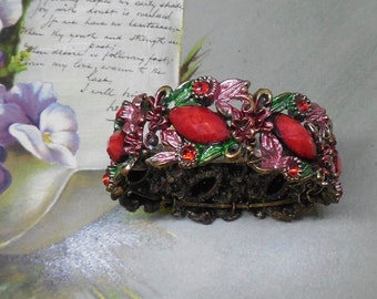 Red Rhinestone & Enamel Bangle Bracelet    ND40