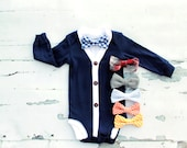Easter Bow Tie Outfit NEW Baby Boy Cardigan and Bow Tie Set.   Trendy Baby Boy, Cardigan Sweater Onesie.  Handsome 1st Birthday Outfit smash