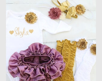 Plum & Gold Christmas Holiday Outfit, Newborn Baby Girl Coming Home Outfit, 1st Birthday. Personalized Bodysuit Diaper Cover Leg Warmers Bow