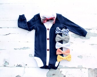 NEW Baby Boy Cardigan and Bow Tie Set.   Easter & Valentine's Day Trendy Baby Boy, Cardigan Sweater Onesie. 1st Birthday Outfit