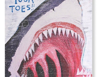Watch Your Toes - Artwork by Christina Rowe - 8x10 Shark Art Print - Mangoseed