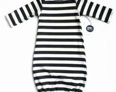 Black Stripe Baby Sleeper Gown Monochrome Newborn Unisex