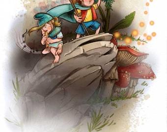 Gnome Adventure Girls Digital Print