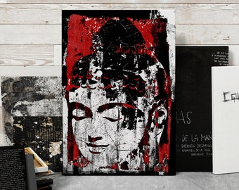 Buddha, Zen Decor, Large Canvas Art, Red, Buddha Wall Art, Yoga studio decor, Beach Decor, Coastal Decor, Canvas Print, 24x36 art