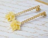 Wedding accessory,Bridesmaid Jewelry, Gold Bridal Earrings,Cherry Blossom Post Earrings, Bridesmaid Gift, Flower Girl,flower Earrings