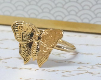 Gentle Gold Butterfly Ring ,Gold Butterfly Jewelry,Dainty Gold Ring,Tiny Butterfly Ring, Women's Gift, Butterfly Design. Butterflies Jewelry