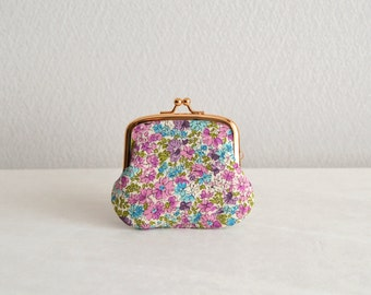 Purple floral tiny coin purse - Handmade in Japan. Ready to ship.
