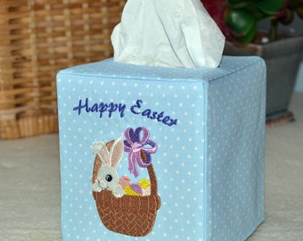 Happy Easter Bunny Basket Tissue Box Cover