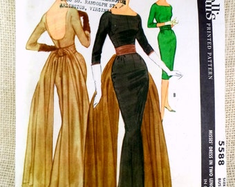 McCall's 5588,  vintage pattern, sewing pattern, Bust 34 pattern, Pauline Trigere, ball gown pattern, bustle, fishtail dress, mermaid dress
