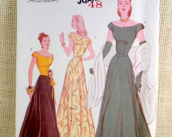 Butterick 6409 Reproduction 1947 pattern Bust 34, 36, 38 off shoulder ball gown Dress Pattern Sewing post War era Hollywood Retro