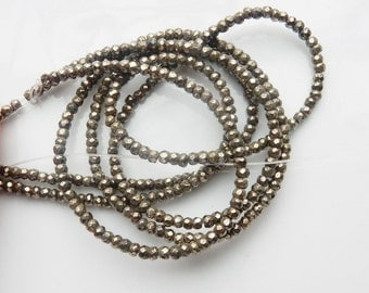 3mm  Pyrite  faceted rondelle beads