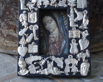 Virgin Mary Wood Frame  Virgen de Guadalupe with Milagros Nicho Ex voto milagros NIcho