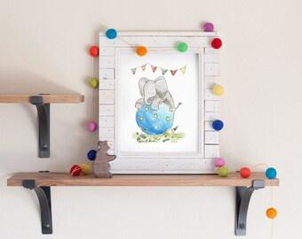 Elephant Nursery Art, Circus Nursery Art, Circus Elephant Print, Elephant with Ball, Children's Wall Art, Nursery decor, Kids Room Picture