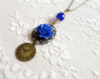 Brilliant blue rose, filigree, clock face, and glass bead necklace, long length, vintage style, I Got The Blues