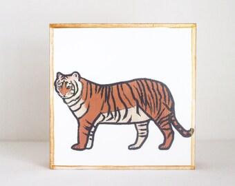safari nursery art tiger nursery art- baby boy nursery art- jungle nursery prints, gold baby nursery decor- lion art- redtilestudio