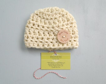 Baby Hat, Gender Neutral, Crochet Baby Hat, Chunky Hat, Wood Button,  Available in  Newborn to 12 Months  Photo Prop, Choose Size and Color