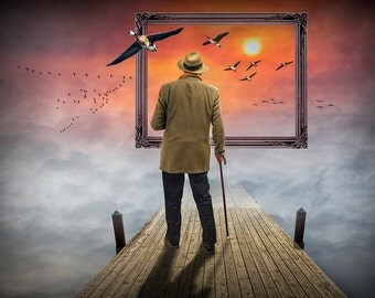 Dreams so Real a Surreal Fantasy of a Man standing on a Boat Dock in the Clouds watching Flying Geese with Picture Frame at Sunset No.00442